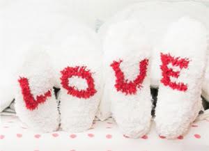 Calcetines con corazones de lana